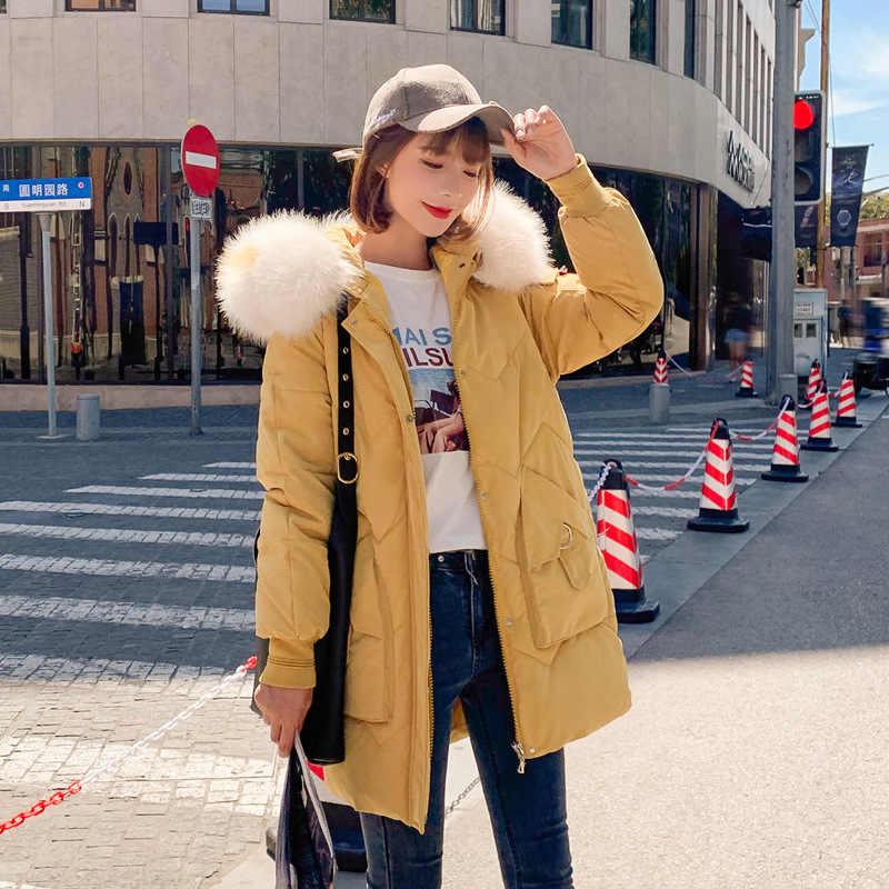 KMVEXO 2019 Mode Jassen Vrouwen Katoen Gewatteerde Warm Thicken Dames Jas Parka Grote Zak Losse Vrouwelijke Parka Met Bontkraag