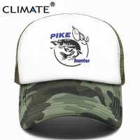 CLIMATE Pike Fish Hunter Trucker Cap Pike Fishing Caps Men Camouflage Fishing Hat Baseball Cap Cat Summer Cool Mesh Caps Men