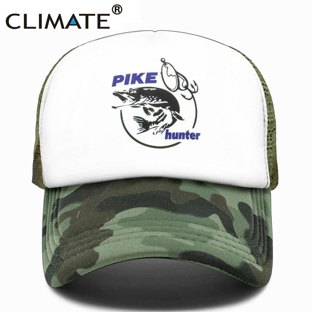 CLIMATE Pike Fish Hunter Trucker Cap Pike Fishing Caps For Man Camouflage Fishing Hat Baseball Cap Cat Summer Cool Mesh Caps Men