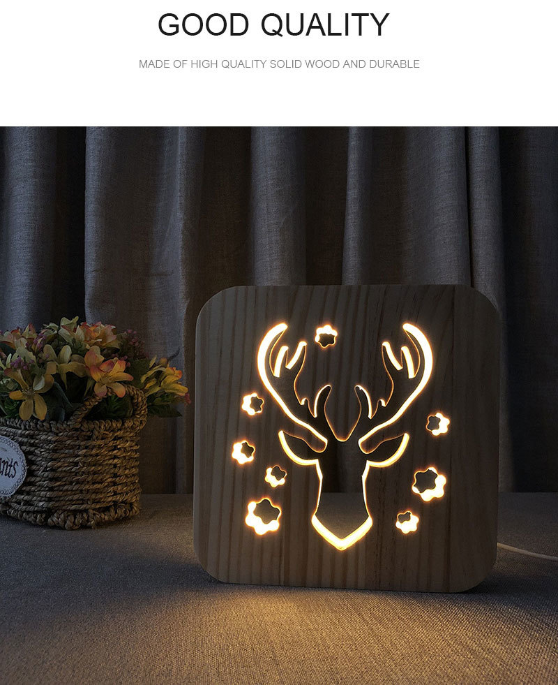 Christmas Deer LED Light Desk Lamp Creative Hollow Wood Carving Animal Table Lamp For Kids Bedroom Home Living Room Decoration (1)