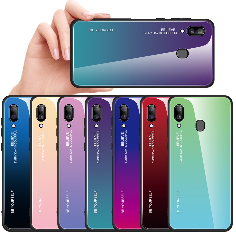 Gradient Phone <font><b>Case</b></font> For <font><b>Samsung</b></font> Galaxy A50 A70 A60 A30 A20 <font><b>A10</b></font> A80 A51 A71 Tempered <font><b>Glass</b></font> <font><b>Case</b></font> Anti-scratch Shell Back Cover image