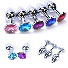 Metal Crystal Anal Plug Stainless Steel Booty Beads Jewelled Anal Butt Plug Sex Toys Products for Men Couples Random 7cm x 2.8cm(China)