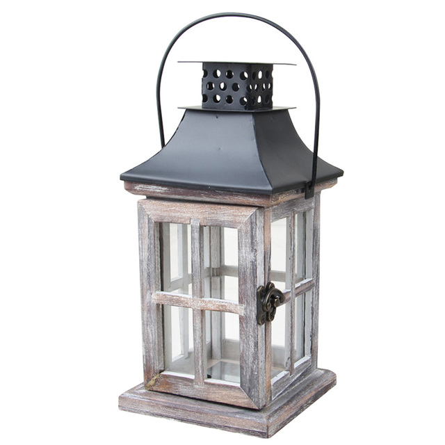 Handmade Vintage Lantern Hanging Exquisite Home European Style Gift Wood Metal Wedding Candle Holder With Handle Decoration 6