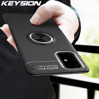KEYSION Ring Phone Case for Samsung S20 Ultra S10 Lite Note 20 10 Plus Shockproof Cover for A51 A71 A41 A31 A21S A01 A70 A50 M31