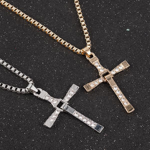 Necklace Men Jewelry Pendant-Chain Dominic Rhinestone Cross-Crystal Furious And Actor