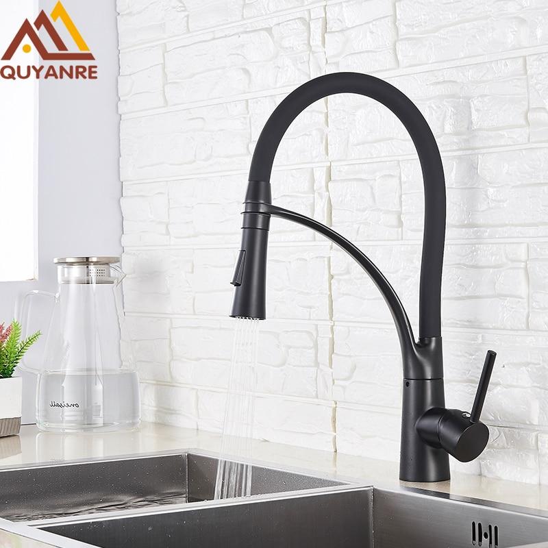 Matte Black Kitchen Faucets Chrome LED Pull Down Kitchen Mixer Tap 360 Rotation Water Crane For Kitchen Single Handle Mixer Tap