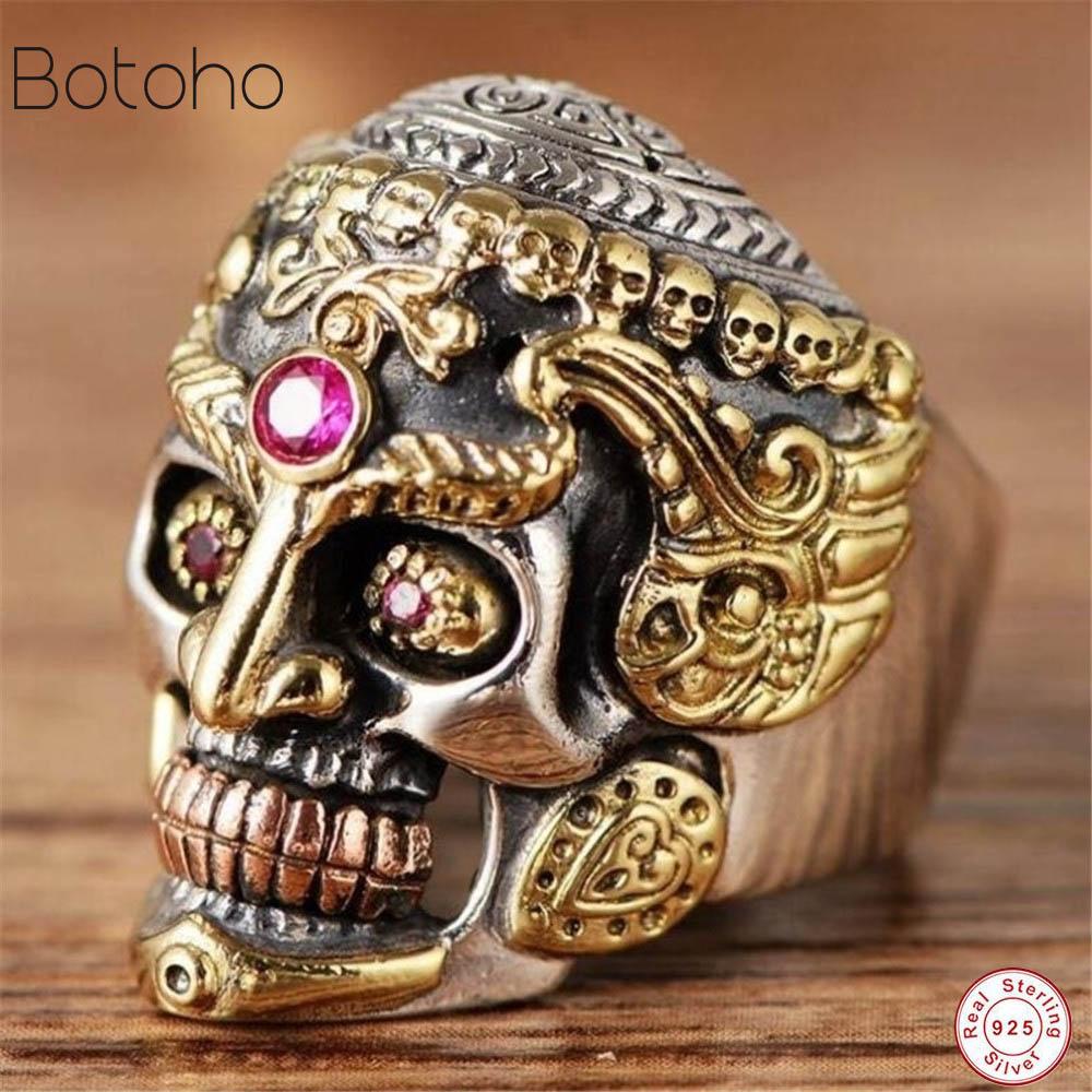 Véritable solide 925 argent Sterling grand crâne anneaux pour hommes jaune or couleur Vintage gothique Punk Thai argent anneau pavé rouge grenat