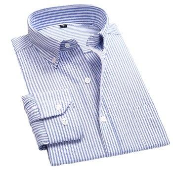 Aoliwen brand  Men's work leisure regular version cotton striped plaid long sleeve shirt pocket business social shirt daily wear striped long shirt with chest pocket