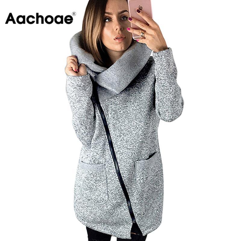 Aachoae Autumn Winter Pure Warm Fleece Sweatshirt Hoodie 2020 Turn-down Collar Long Casual Hoodies Jacket Coat Outwear Plus Size 1