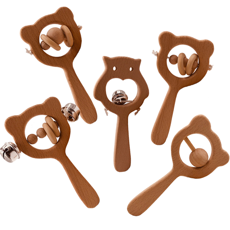 DIY 2019 Wooden Rattle Beech Wood Beads Hand Teething Wooden Ring Baby Montessori Stroller Educational Toy For Baby Newborn Gift