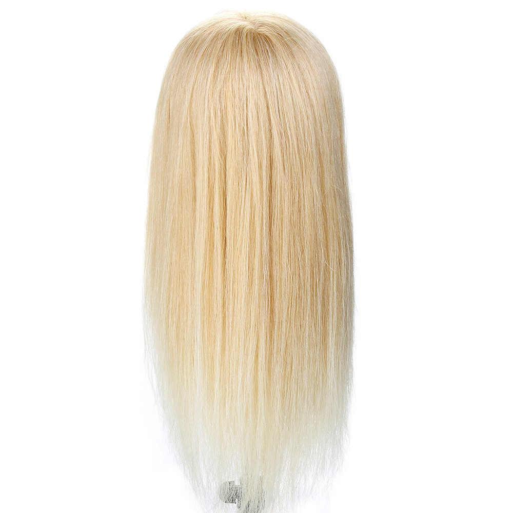 20 ''100% prawdziwe ludzkie włosy głowa fryzjerska treningowa do fryzur włosy dla lalki Curling praktyka głowa manekina + zacisk Dummy Doll