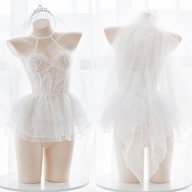 Angel Ballet Girl Lace See-through Underwear Set Sexy Lolita Cospaly Wedding Short Dress Set Mesh Lingerie Set Exotic Apparel