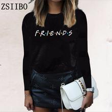 Friends letters summer autumn long-sleeved women's t-shirt casual funny t