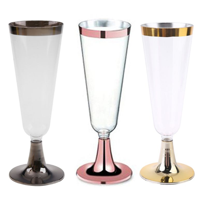 5.5OZ Plastic Champagne Flutes,Clear Hard Disposable Party & Wedding Cups Premium Fancy Champagne Flute