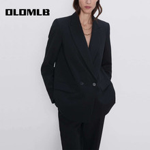 Fashion Women Black Suit Blazer Jacket Casual Long Sleeve Po
