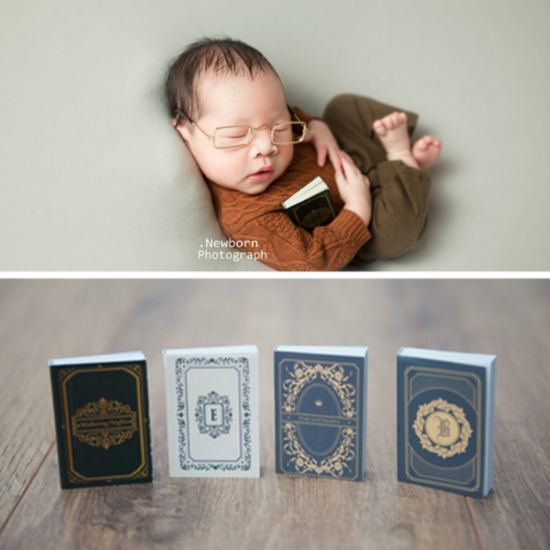 4 Pcs Newborn Photography Props Retro Mini Books Baby Shoot Accessories Photo Studio Creative Props Infant Photo Decorations