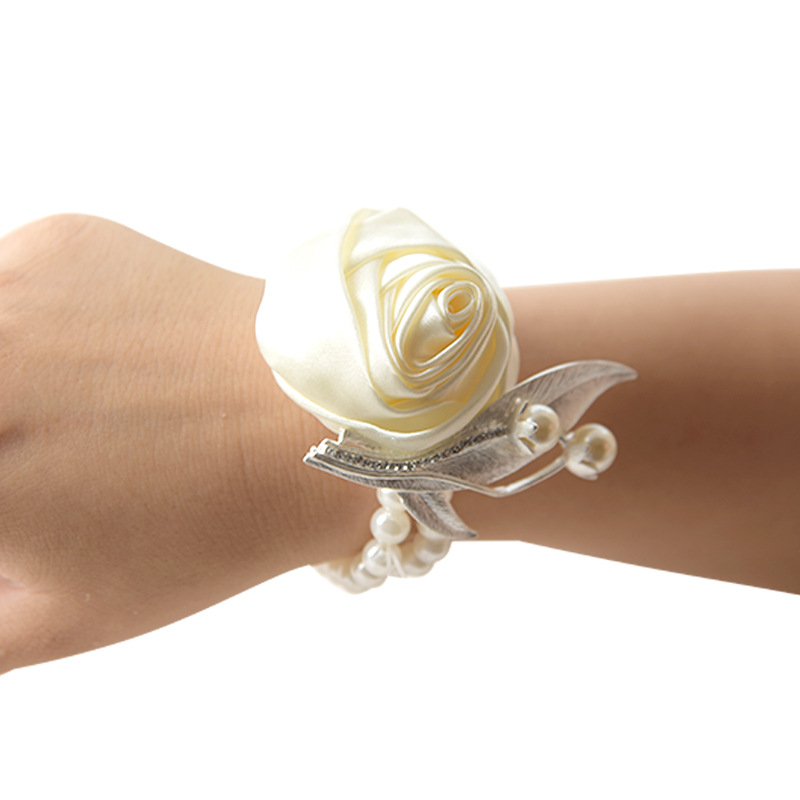 Rose Pearl Wrist Corsages Prom Hand Flower Silk Wedding Accessories Mariage Artificial Brides Bridesmaid Wrist Flower Bracelet