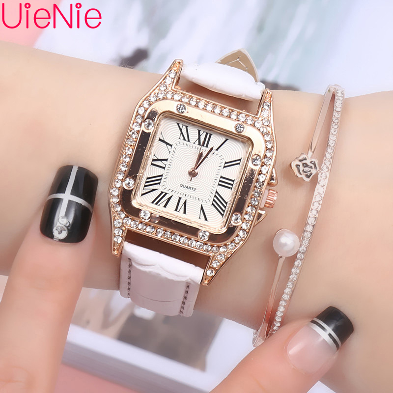 Women Watch Fashion Wild Mosaic Diamond Numeral Belt Buckle Luxury Fashion Ladies Geometric Roman Numeral Quartz Watch