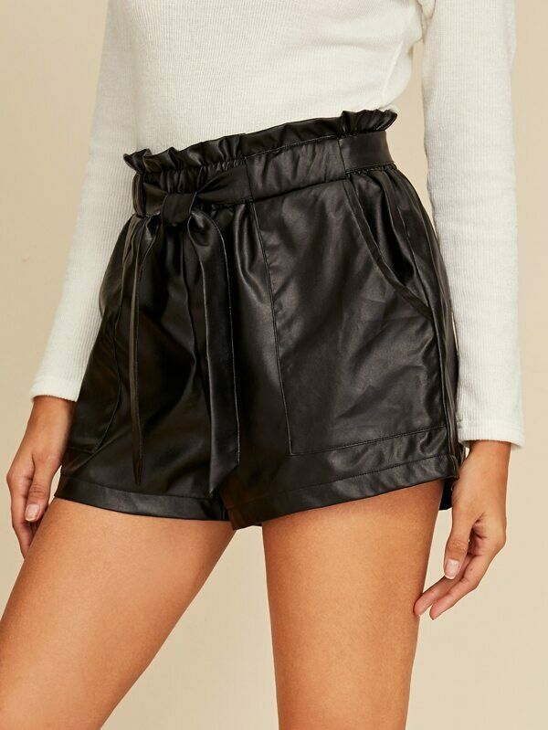 Sexy Women Shorts Black Ladies High Waist PU Leather Loose Short Trousers With Belt Streetwear Womens Office Lady Ruffle Shorts