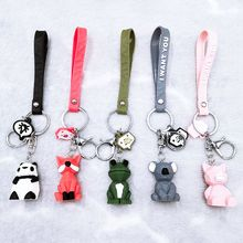 Key-Chain Panda-Dinosaur Kawaii Cartoon Koala Pink Pig-Pendant Gifts Geometric Reindeer