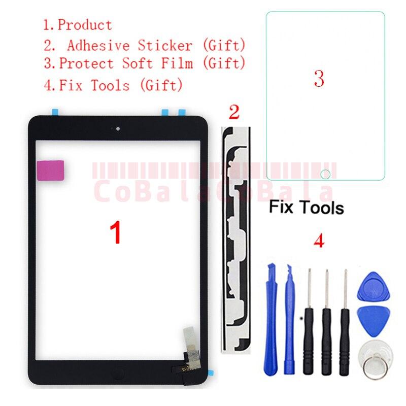Сенсорный экран для iPad Mini 1 Mini 2 A1432 A1454 A1455 A1489 A1490 A1491, дигитайзер с сенсорным экраном, стеклянная панель с ИС и Замена кнопки, 1 шт.