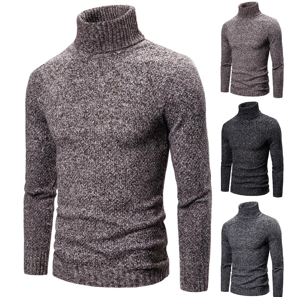 Men Autumn Winter Turtle Neck Thick Warm Knitted Sweater Slim Thin Pullover Hot Sales