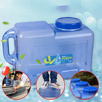Portable PC Water Container with Lid and Spigot 12 L Square Water Jug for Camping Hiking Self Drive Tour