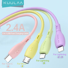 Kuulaa 4 In 1 Usb Charger Cable Voor Iphone Usb Type C Micro Kabel 2.4A Snel Opladen Data Wire Cord voor Iphone 12 11 Pro Max Xs