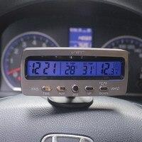 자동차 온도계 전압계 자동 실내 야외 termometro 온도 전압 측정기 알람 시계 vst7045v 블루 오렌지 백라이트