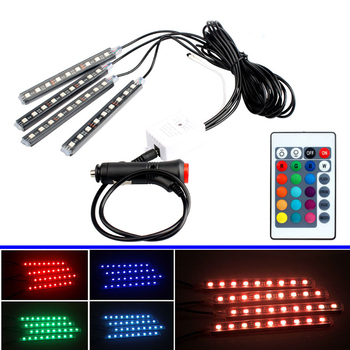 4x LED RGB Under Car Tube Glow Underglow Underbody System Neon Strip Lights Kit Led Car Atmosphere Lights image