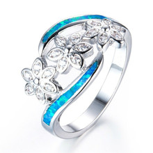 Hot Selling New Stylish Unique Design Three Flowers Blue Wedding Party Rings Women Fashion Jewelry Gifts stylish women s sandals with flowers and black colour design