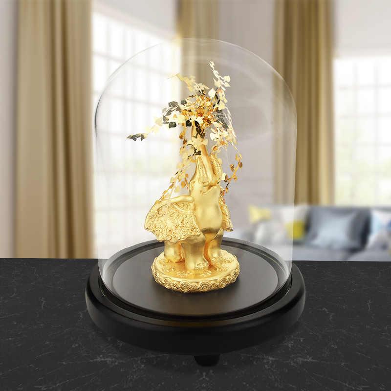 Figurka słonia dla Home Office dekoracja hotelu Tabletop zwierząt nowoczesne rzemiosło indie złoty słoń 24K złoty liść statua Decor