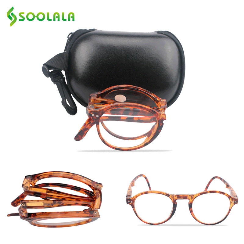 SOOLALA Round Foldable Reading Glasses Women Men Presbyopic Glasses For Reading with Cases +1.0 1.25 1.5 1.75 2.0 to 4.0