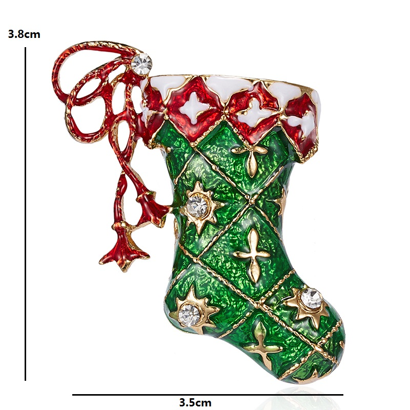 Wuli&baby Enamel Christmas Socks Brooches Women Men Classic Casual Party Christmas Brooch Pins Gifts