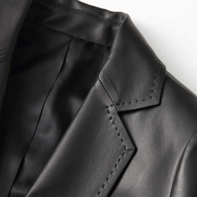 Wanita Kasual Asli Jaket Kulit 2020 Musim Semi Baru Domba Real Mantel Wanita Wanita Slim Jaket Pakaian Luar YY1089A
