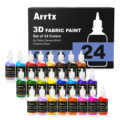 Arrtx 24 Assorted Colors 3D Fabric Paint for Fabric/Canvas/Wood/Ceramic/Glass Fine-point Tip for Precise Application Non-toxic