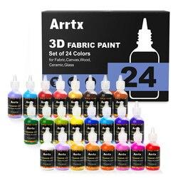 Arrtx 24 Cores Sortidas 3D Tinta de Tecido para Tecido/Lona/Madeira/Cerâmica/Vidro Fino-ponto dica para a Aplicação Precisa e Não-tóxico