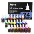 Arrtx 24 couleurs assorties peinture tissu 3D pour tissu/toile/bois/céramique/verre pointe Fine pour Application précise Non toxique