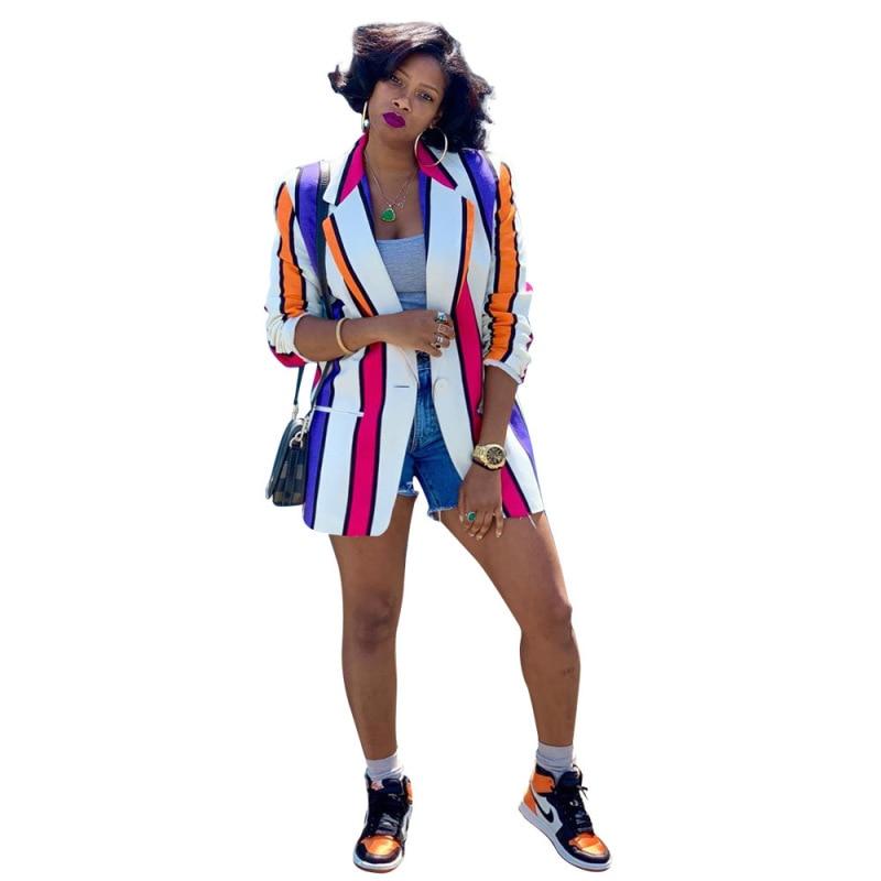 Autumn Spring Jacket Women Coats Longsleeve Colorful Stripes Print V-neck Blazers Fashion Vintage Office Lady Coats