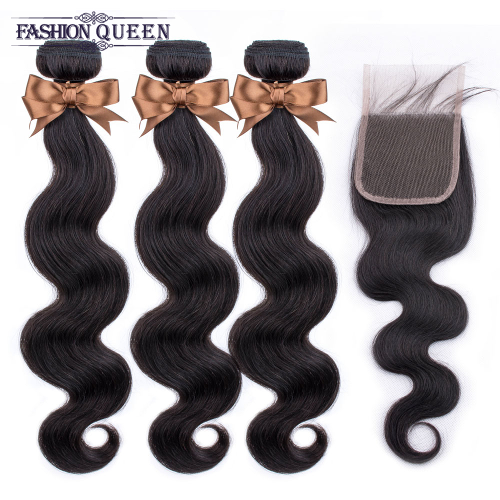 Brazilian Hair Weave Bundles With Closure Body Wave Closure With Bundles Human Hair Bundles With Closure Non Remy Fashion Queen