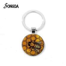 Porte-clés en forme de nid d'abeille doré, pendentif en verre Steampunk, abeille, insecte, cadeau apiculteur, Souvenir