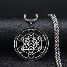 Yoga Hindu Buddhism Flower of Life Crystal Stainless Steel Chain Necklace Women Black Silver Color Jewelry collares