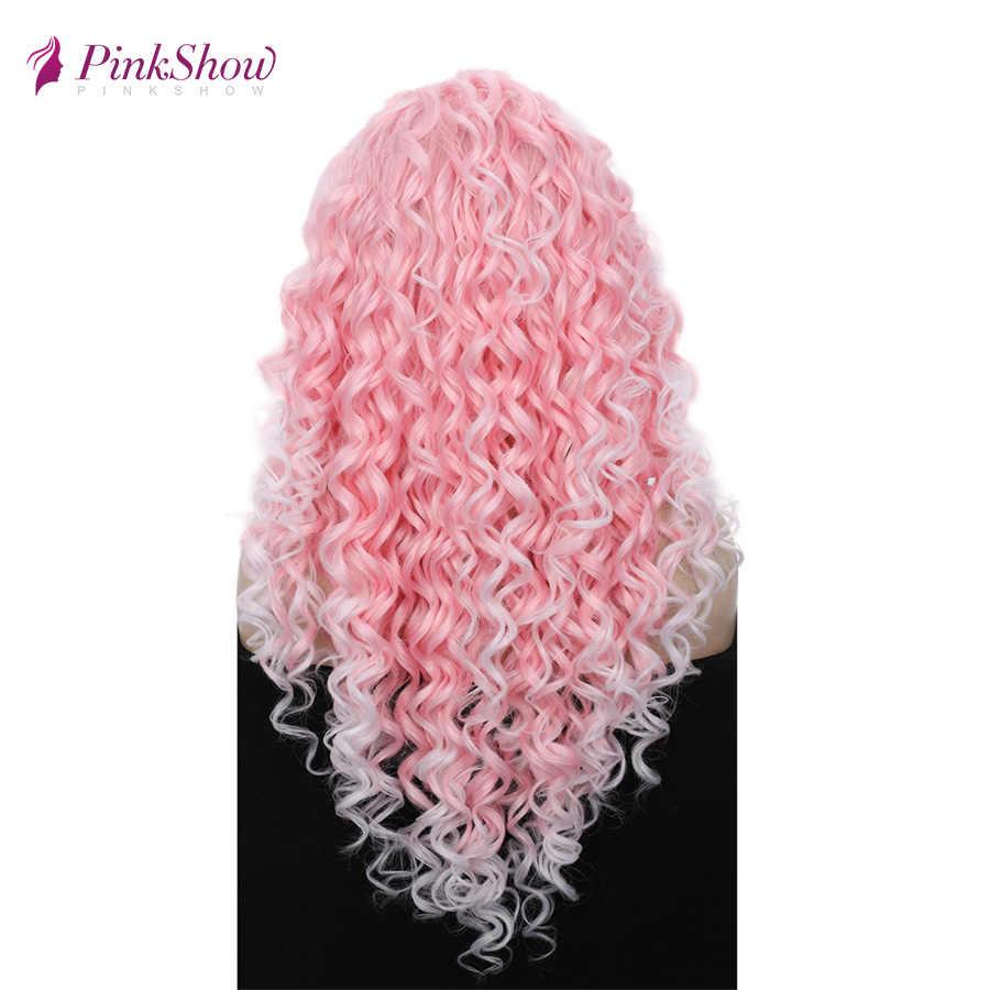 Pinkshow rosa peruca encaracolado frente do laço perucas para as mulheres peruca dianteira do laço sintético glueless fibra resistente ao calor cosplay peruca diária