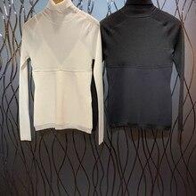 Ранняя осень Новая женская подкладка подтяжки ремень шеи высокий воротник длинный рукав трикотажная рубашка 813