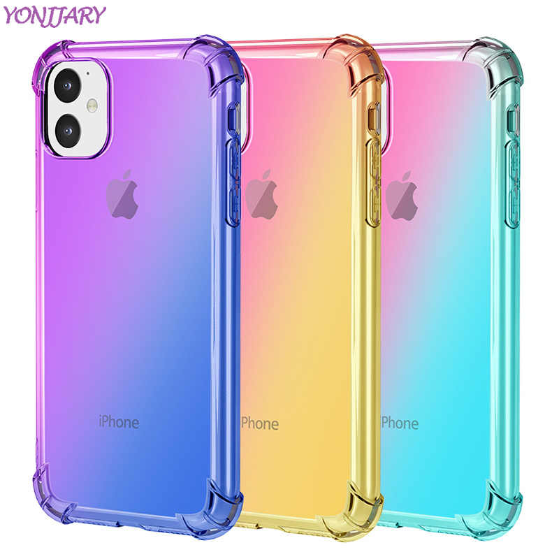 Moda gradiente colorido caso para iphone 11 pro 6 7 8 plus x xr xs max capa macia tpu fina clara casos para iphone11 anti-knock