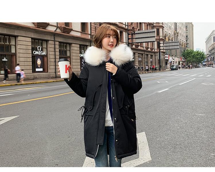 Осенне-зимний пуховик для фотосессии, женский корейский стиль, средней длины, свободный крой, BF, хлопковая стеганая одежда, пуховик, Larg