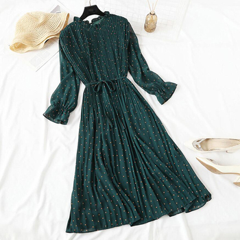 Elegant Polka Dot Women Dress Female Casual Flare Sleeve Office Chiffon Dot Print Dresses A-line Vintage Sweet Clothing Vestidos image
