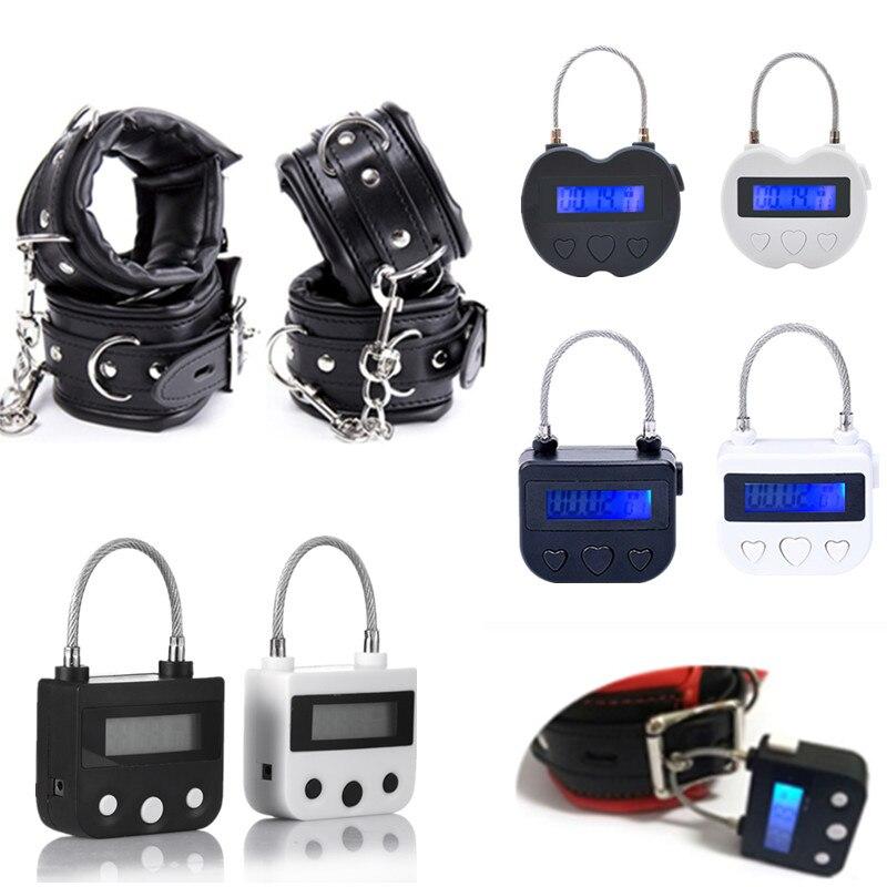 Cyfrowy włącznik czasowy, ręka i mankiety na kostkach, USB akumulator wyłącznik czasowy blokada dla BDSM Bondage Sex akcesoria do zabawek dla dorosłych
