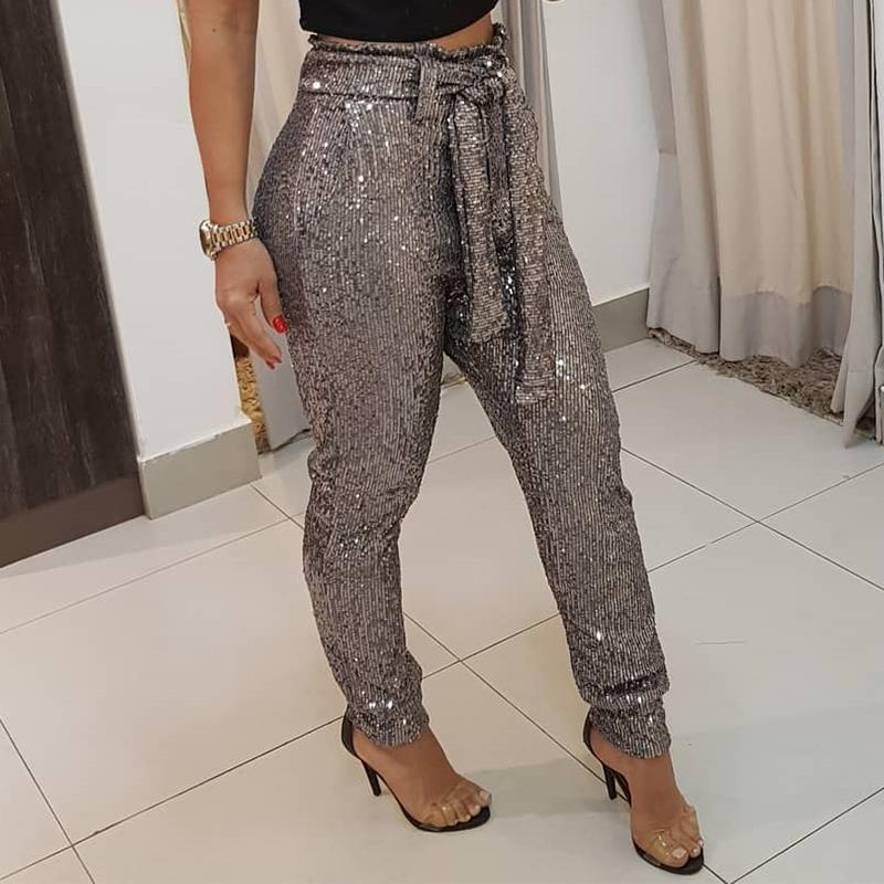 Sashes High Waist Sequined Pants Women Elegant Shinny Skinny Pencil Party Pants Sexy Glitter Sequin Wrap Waist Long Trousers