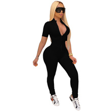 Casual Women Jumpsuit Knit Ribbed Has Stretch Skinny Party Night Streetwear Short Sleeve Rompers Womens Jumpsuit Overalls